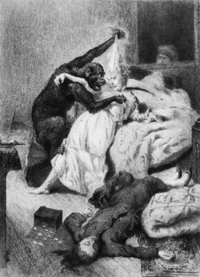 Illustration for 'The Murders in the Rue Morgue' by Edgar Allan Poe (1809-49) engraved by Eugene Michel Abot (1836-94) (engraving) (b/w photo) by Daniel Urrabieta Vierge - print