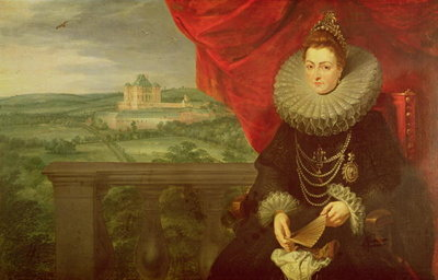 The Infanta Isabella Clara Eugenia (1566-1633) (oil on canvas) (pair of 197174) by Peter Paul Rubens - print