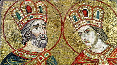 Constantine the Great (270-337) and St. Helena (mosaic) by Veneto-Byzantine School - print