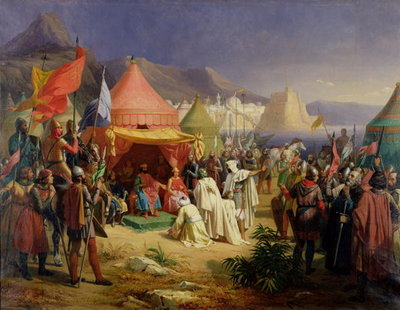 Fine Art Print of The Taking of Tripoli, April 1102, 1842 by Charles Alexandre Debacq