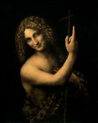 St. John the Baptist, 1513-16 (oil on canvas) by Leonardo da Vinci - print