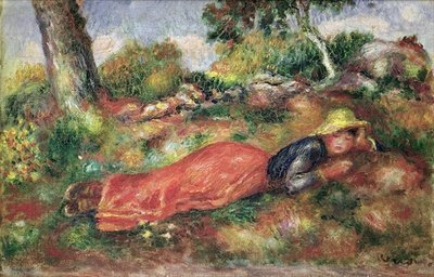 Young Girl Sleeping on the Grass Poster Art Print by Pierre-Auguste Renoir