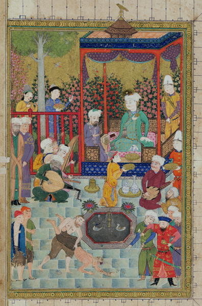 Ms C-822 fol.1v A Princely Reception, illustration from the 'Shahnama' (Book of Kings), by Abu'l-Qasim Mansur Firdawsi (c.934-c.1020), 1460-70 (gouache on paper) by Persian School - print