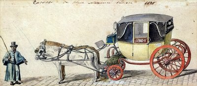 Horse and Carriage, 1825 (pen & ink and w/c on paper) by Pierre Antoine Lesueur - print