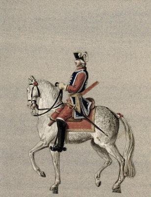 Equestrian portrait of Prince Charles de Beauveau-Craon (1720-93) (gouache on paper) by Pierre Antoine Lesueur - print