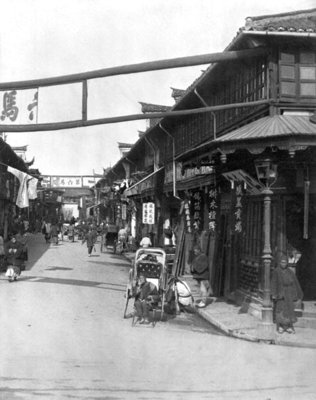 Chinatown in Shanghai, late 19th century (b/w photo) by French Photographer - print