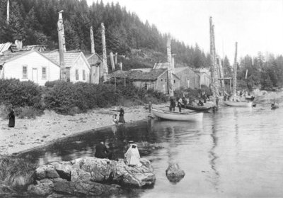 Village in Alaska, c.1900 (b/w photo) by American Photographer - print
