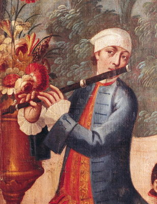 A Flautist, detail from a screen Poster Art Print by Mexican School