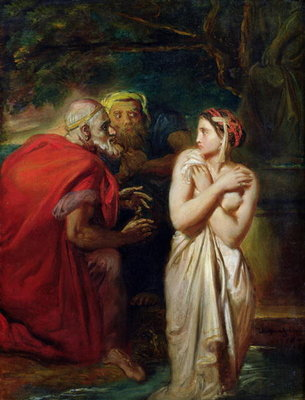 Fine Art Print of Susanna and the Elders, 1856 by Theodore Chasseriau