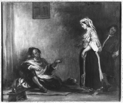 The Arab Merchant (oil on canvas) (b/w photo) by Ferdinand Victor Eugene Delacroix - print