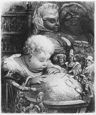 Education of Gargantua, illustration from 'Gargantua' by Francois Rabelais (1494-1553) engraved by Paul Jonnard-Pacel (d.1902) (engraving) (b/w photo) by Gustave Dore - print
