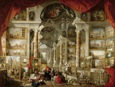 Gallery with Views of Modern Rome, 1759 (oil on canvas) by Giovanni Paolo Pannini or Panini - print