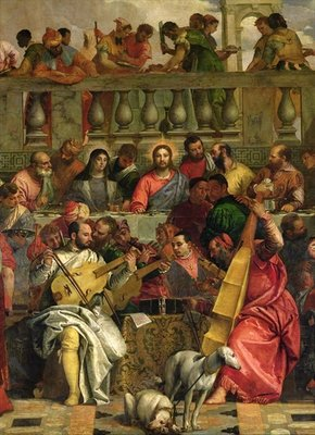 The Marriage Feast at Cana, detail of Christ and musicians, c.1562 (oil on canvas) by Veronese - print