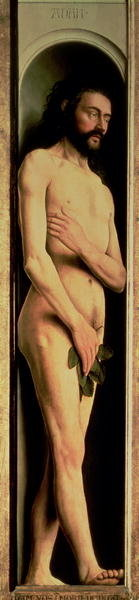 Adam, from the left wing of the Ghent Altarpiece, 1432 Poster Art Print by Hubert Eyck