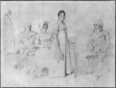 The Forestier Family (graphite on paper) (b/w photo) (see also 233241) by Jean Auguste Dominique Ingres - print