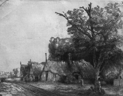 Landscape with Three Cottages, 1650 (etching) (b/w photo) by Rembrandt Harmensz. van Rijn - print