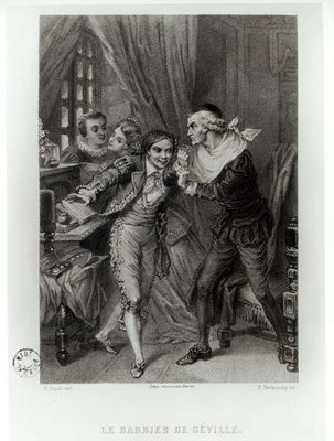 Fine Art Print of Figaro, illustration from Act III Scene 12 of 'The Barber of Seville' by Pierre Augustin Caron de Beaumarchais by Pierre Gustave Eugene Staal