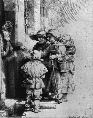Fine Art Print of Beggars on the Doorstep of a House, 1648 by Rembrandt Harmensz. van Rijn