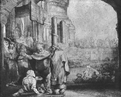 St. Peter and St. John at the Entrance to the Temple, 1649 (etching) (b/w photo) by Rembrandt Harmensz. van Rijn - print
