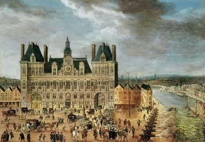 Fine Art Print of The Hotel de Ville, Place de Greve by Flemish School