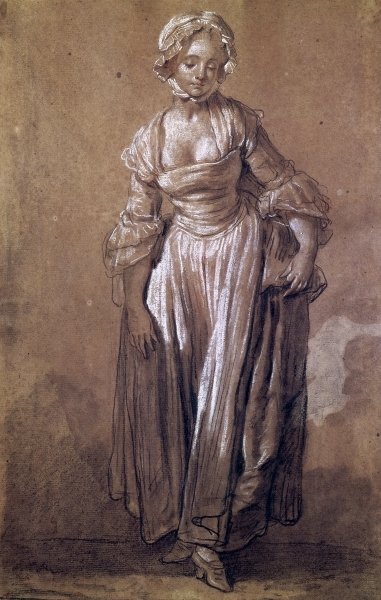 Standing Young Girl, study for 'The Village Agreement' (charcoal & white chalk on paper) by Jean Baptiste Greuze - print