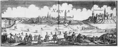 The Russian army besieging Narva in 1700 Poster Art Print by French School
