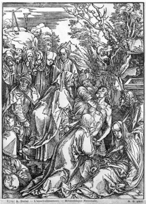 Fine Art Print of The entombment of Christ, from 'The Great Passion' series, 1497-1500 by Albrecht Durer or Duerer