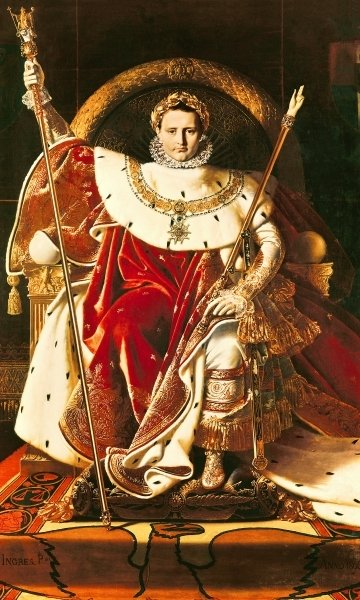 Napoleon I (1769-1821) on the Imperial Throne, 1806 (oil on canvas) by Jean Auguste Dominique Ingres - print