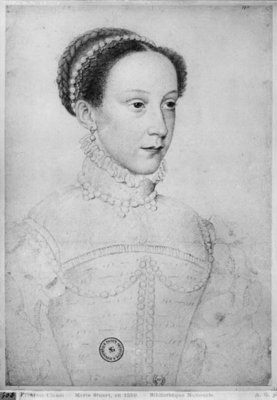Mary Queen of Scots, 1559 (pencil on paper) (b/w photo) by Francois Clouet - print