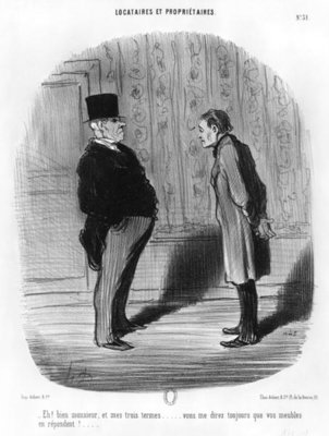 Fine Art Print of 'Well, Sir, what about my three terms?', plate 31 from the series 'Tenants and owners', 1848 by Honore Daumier