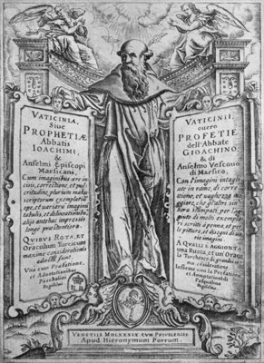 Joachim of Flora, illustration from 'Vaticinia Sive Prophetiae Abbatis Ioachimi', 1589 (engraving) (b/w photo) by Italian School - print