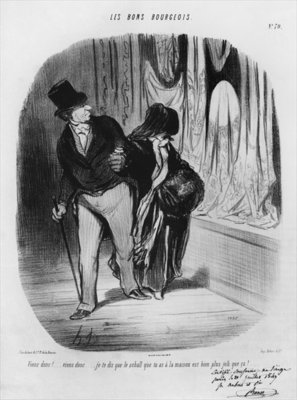 Series 'Les Bons Bourgeois', Come along, I am telling you the scarf you have at home is much more beautiful, plate 70, illustration from the 'Album Les Bons Bourgeois', 1847 (litho) (b/w photo) by Honore Daumier - print