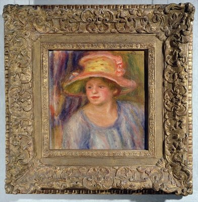 Woman with a hat, c.1915-19 ? (oil on canvas) by Pierre-Auguste Renoir - print