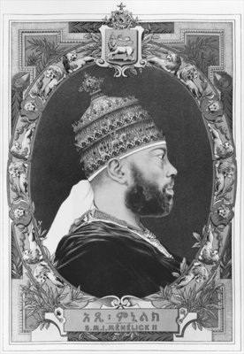 Fine Art Print of Negus of Ethiopia, Menelik II by French School