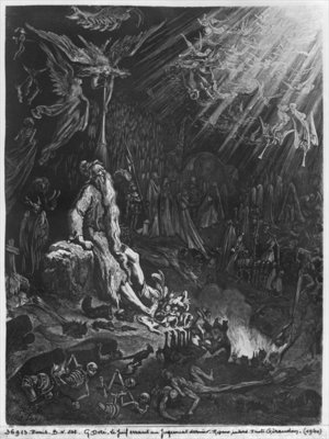 Fine Art Print of The Wandering Jew and the Last Judgement, engraved by Felix Jean Gauchard by Gustave Dore