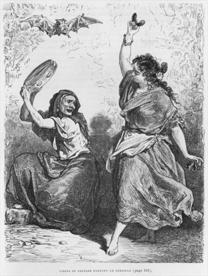 Gitana from Granada dancing the zorongo (engraving) (b/w photo) by Gustave Dore - print
