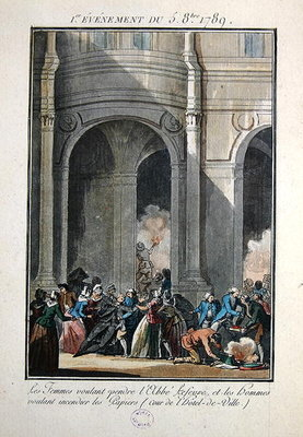 Events of the 5th of October 1789: The Women want to hang the Priest Lefevre Poster Art Print by Jean-Francois Janinet