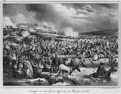 Crossing the Berezina on November 1812, engraved by Desguerrois (19th century) (litho) (b/w photo) by Carel Christian Anthony Last - print