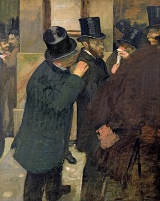 At the Stock Exchange, c.1878-79 (oil on canvas) by Edgar Degas - print