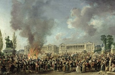 The Celebration of Unity, Destroying the Emblems of Monarchy, Place de la Concorde, 10th August 1793 Poster Art Print by Pierre-Antoine Demachy