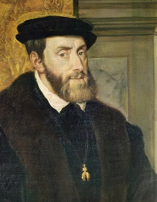 Detail of Seated Portrait of Emperor Charles V (1488-1576) 1548 (oil on canvas) (see 158620) by Titian - print