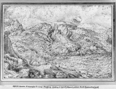 Alpine landscape, 1553 Poster Art Print by Pieter the Elder Bruegel