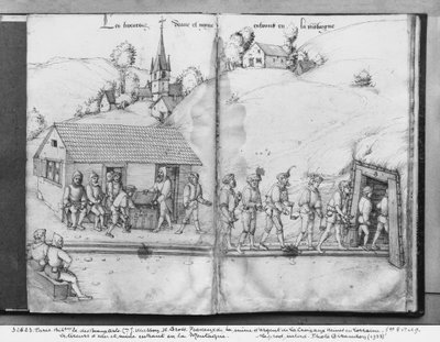 Silver mine of La Croix-aux-Mines, Lorraine, fol.8v and fol.9r, miners entering the mine, c.1530 (pen & ink & w/c on paper) (b/w photo) by Heinrich Gross or Groff - print