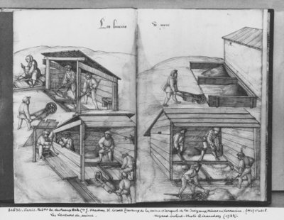 Silver mine of La Croix-aux-Mines, Lorraine, fol.17v and fol.18r, washing the ore, c.1530 (pen & ink & w/c on paper) (b/w photo) by Heinrich Gross or Groff - print