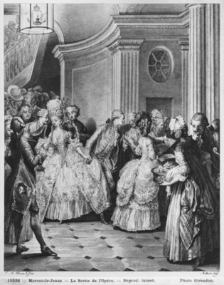 Fine Art Print of Coming out of the Opera, engraved by Georges Malbeste or Malbete by Jean Michel the Younger Moreau