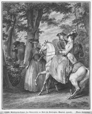 Fine Art Print of The meeting at the Bois de Boulogne, engraved by Heinrich Guttenberg by Jean Michel the Younger Moreau