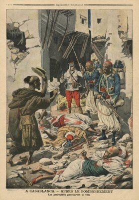 Casablanca after the bombing, illustration from 'Le Petit Journal', supplement illustre, 25th August 1907 Poster Art Print by French School