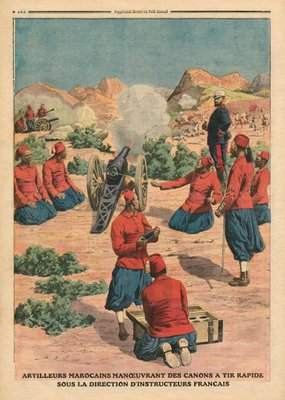 Moroccan artillerymen using cannons under the command of French instructors, illustration from 'Le Petit Journal', supplement illustre, 26th March 1911 Poster Art Print by French School
