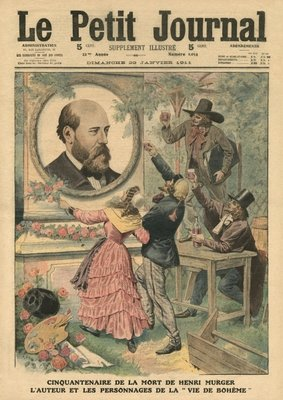 Fiftieth anniversary of the death of Henri Murger, the author and the characters of 'La Vie de Boheme', illustration from 'Le Petit Journal', supplement illustre, 29th January 1911 Poster Art Print by French School