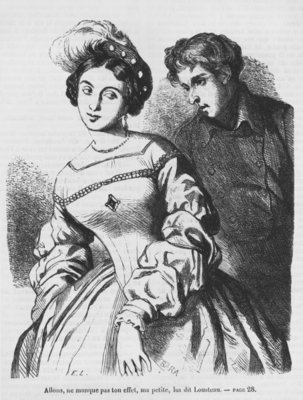 Etienne Lousteau speaking to an actress, illustration from 'Les Illusions perdues' by Honore de Balzac (engraving) (b/w photo) by French School - print